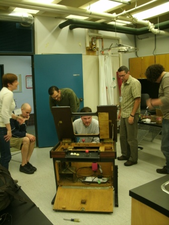 Jentery Sayers hauled in a vintage video game cabinet for the class to tinker with. Although he reported receiving some negative reactions online from purists about degrading a piece of gaming history, a handful of course participants helped build a fully-functional game by the end of the week.